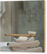 Bath Brush On Stacked Towels Wood Print