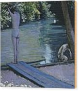 Bather About To Plunge Into The River Yerres Wood Print