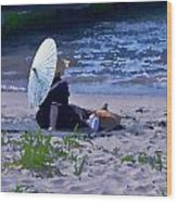 Bather By The Bay - Square Cropping Wood Print