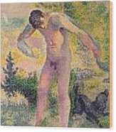 Bather Drying Himself At St Tropez Wood Print