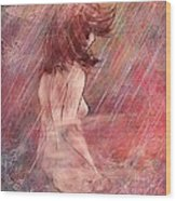 Bathing In The Rain Wood Print