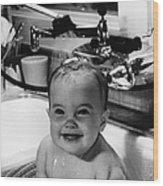 Bathtub Baby Wood Print by L J Willinger