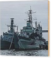 Battleship At Tower Bridge Wood Print