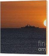 Battleship Sunset Wood Print