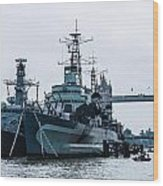 Battleships And Tugboat Wood Print