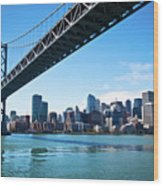 Bay Bridge And Embarcadero Wood Print by Lily Chou