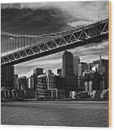 Bay Bridge And San Francisco Downtown Wood Print