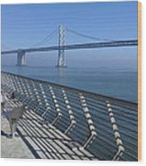 Bay Bridge From New Pier Wood Print