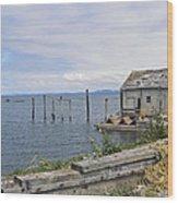 Bayside Boat Barn Wood Print