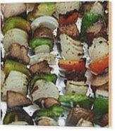 Bbq Grilled Vegetables Wood Print