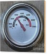 Bbq Thermometer Wood Print