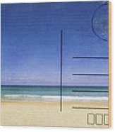Beach And Blue Sky On Postcard  Wood Print by Setsiri Silapasuwanchai