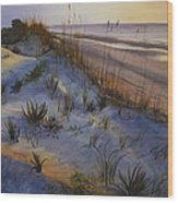 Beach At Dusk Wood Print