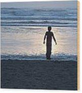 Beach Boy Silhouette Wood Print