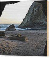 Beach Cave At Bandon Oregon Wood Print