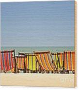 Beach Chairs Colorful  Wood Print
