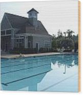 Beach Club And Pool At Tega Cay Wood Print