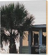 Beach Cottage Clothesline Wood Print