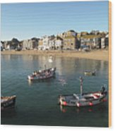 Beach Front, St Ives, Cornwall Wood Print