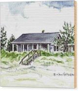 The Little House On East Beach Wood Print