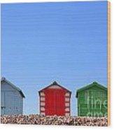 Beach Huts And Blue Sky Wood Print