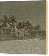 Beach Huts In A Tropical Paradise Wood Print