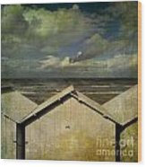 Beach Huts Under A Stormy Sky. Vintage-look. Normandy. France Wood Print