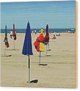 Beach In Deauville Wood Print