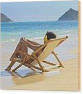 Beach Lounger II Wood Print