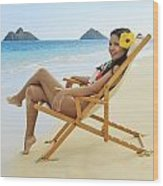 Beach Lounger Wood Print