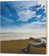 Beach Wood Print by Nawarat Namphon