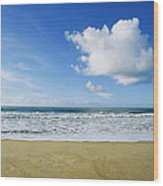 Beach, Ocean, Sky, And Clouds Wood Print