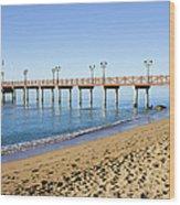 Beach Pier In Marbella Wood Print