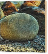 Beach Rocks Wood Print