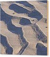 Beach Sand At Sunset Wood Print