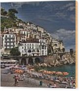 Beach Scene In Amalfi On The Amalfi Coast In Italy Wood Print