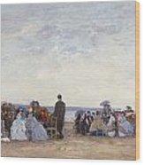 Beach Scene Near Trouville Wood Print by Eugene Louis Boudin