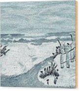 Beach Seashore Abstract Wood Print by Marsha Heiken