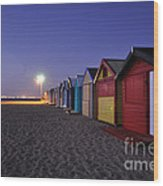 Beach Sheds At Dusk Wood Print
