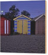 Beach Sheds Wood Print by Nishan De Silva