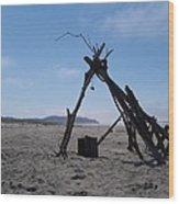 Beach Shelter Skeleton Wood Print
