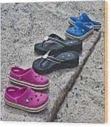 Beach Shoes Wood Print