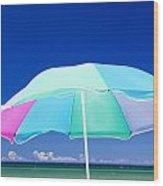 Beach Umbrella At The Shore Wood Print
