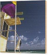 Beach Warning Flags Wood Print
