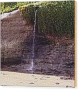 Beach Waterfall Wood Print