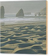 Beach With Dunes And Seastack Rocks Wood Print