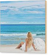 Beach Woman Wood Print