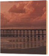 Beachcombing At Oceanside Pier Wood Print
