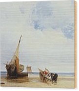 Beached Vessels And A Wagon Near Trouville Wood Print by Richard Parkes Bonington