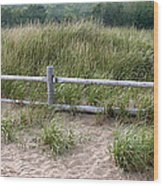 Beachside Fence Panorama Wood Print by Chris Hill